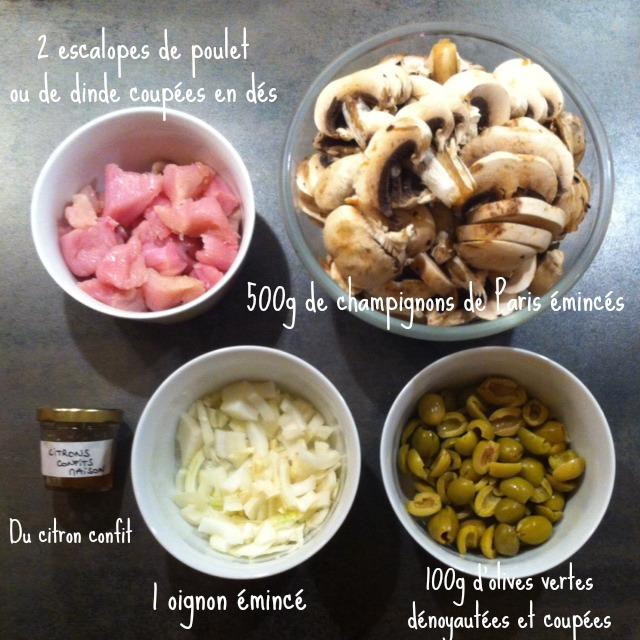 Poulet olives champignons citron confit ma sauce la for Marinade poulet huile d olive