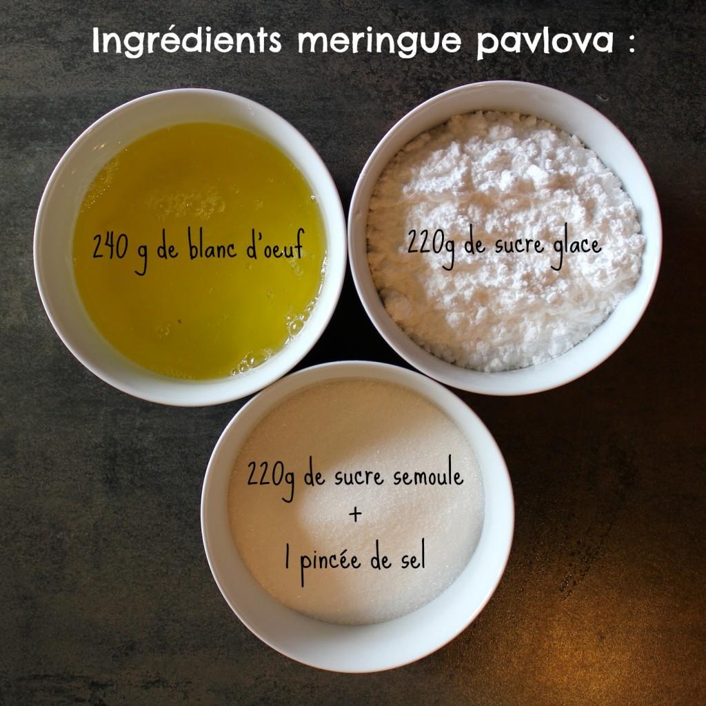 ingrédients meringue pavlova